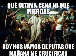 meme jueves santo crucificado