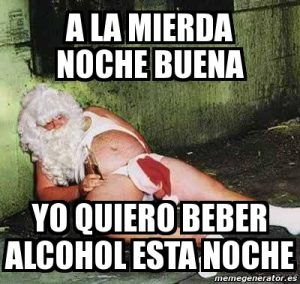 meme nochebuena borracho
