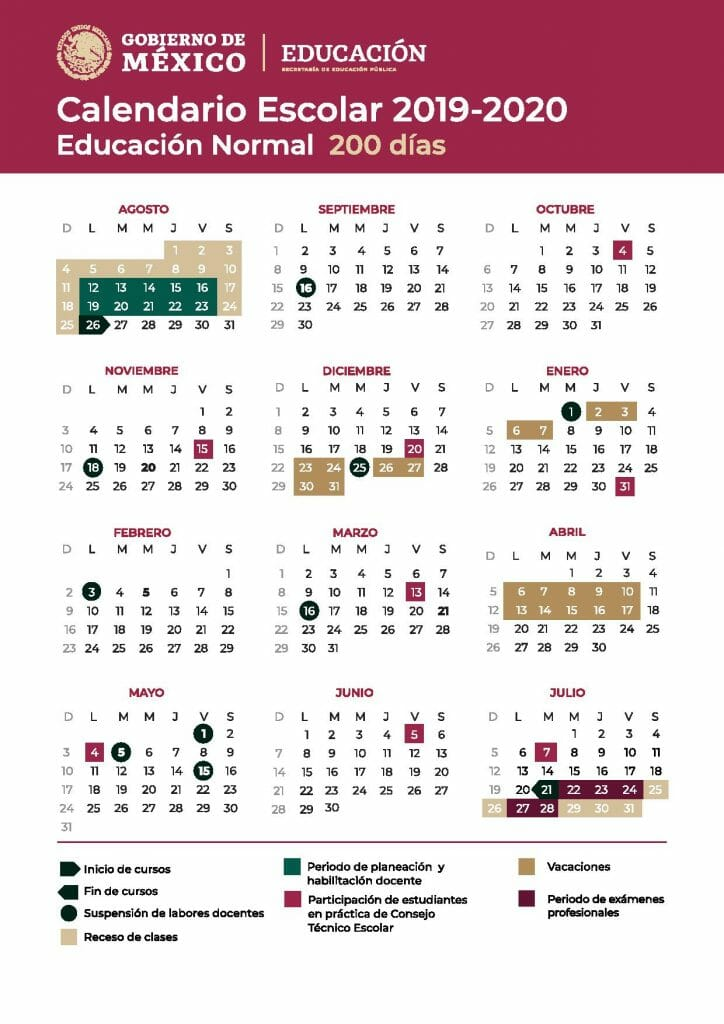 calendario escolar mexico 2020 200 dias